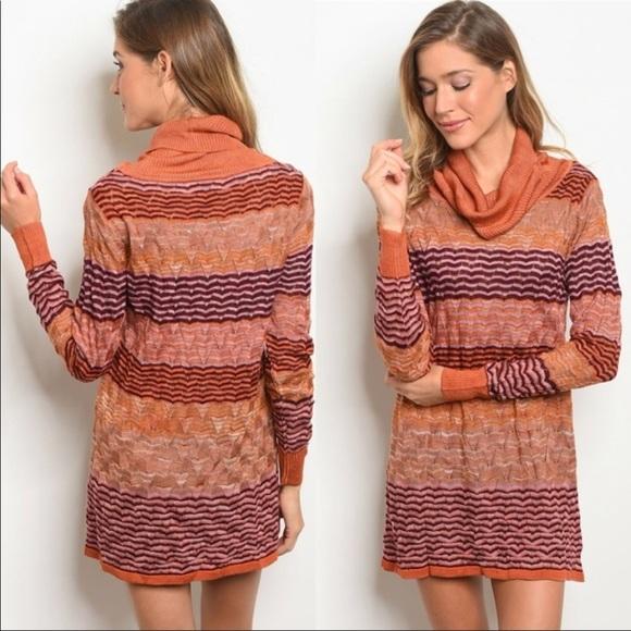 28d264c0f661 Rust Cowl Neck Knit Sweater Dress Or Tunic